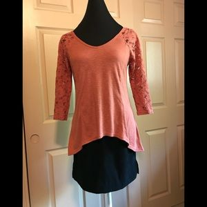 Knit top with lace sleeves and hi/lo hem